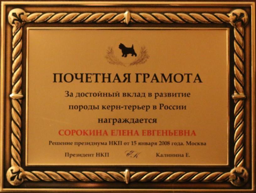 Фото почетной грамоты за развитие породы керн-терьер в России