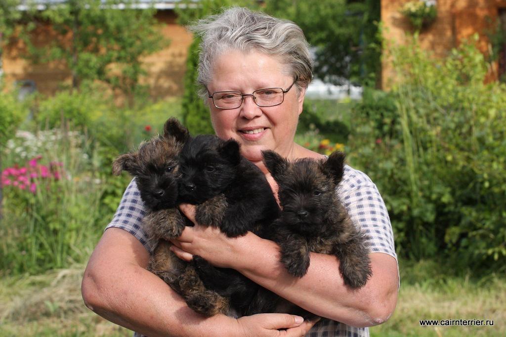 Фото владельца питомника Еливс с щенками на руках