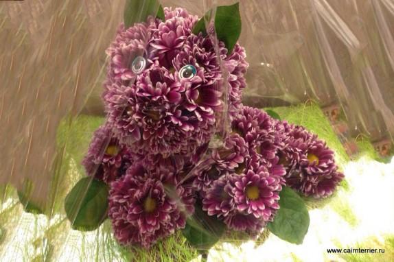 Фото букет цветов сформирован в виде собаки